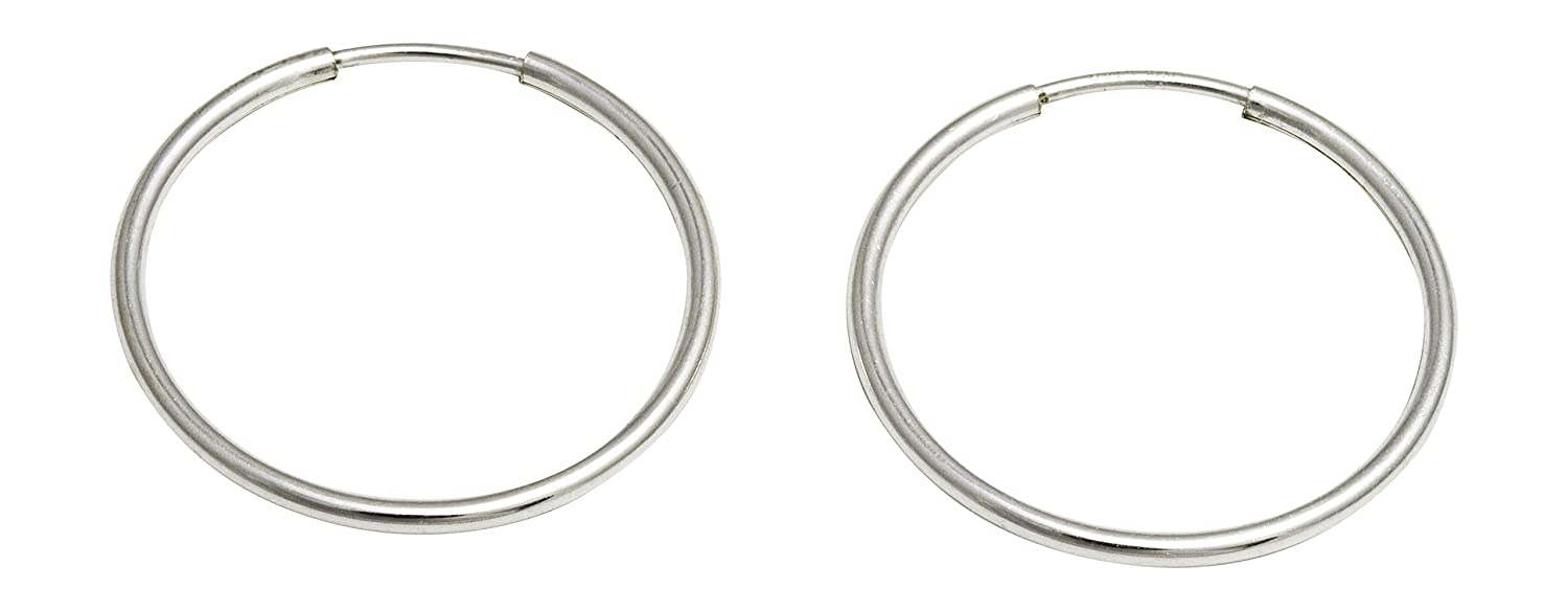 Amazon.com: Sterling Silver Continuous Endless Wire Hoop Earrings ...