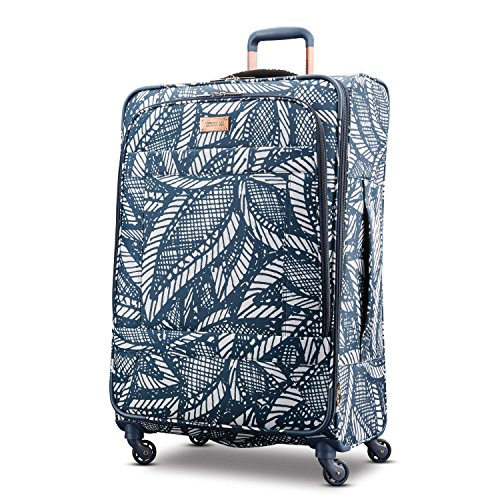 (American Tourister Checked-Large, Floral Indigo Sand)