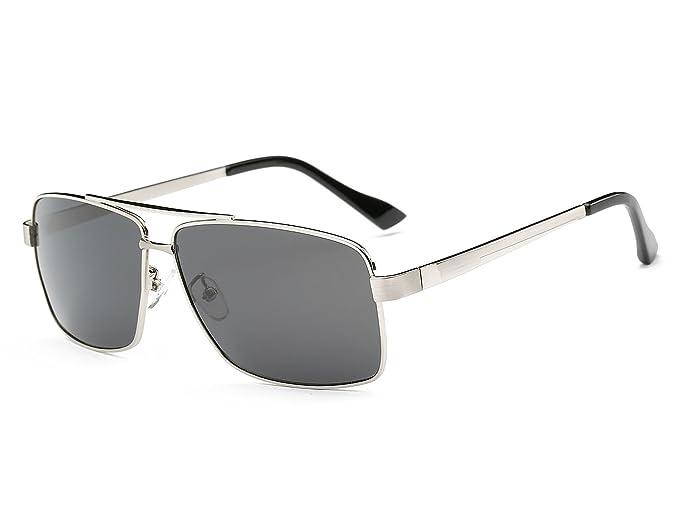 Bmeigo Gafas de sol polarizadas para Hombre, Vintage Gafas UV400 Marco de metal Clásico Lentes