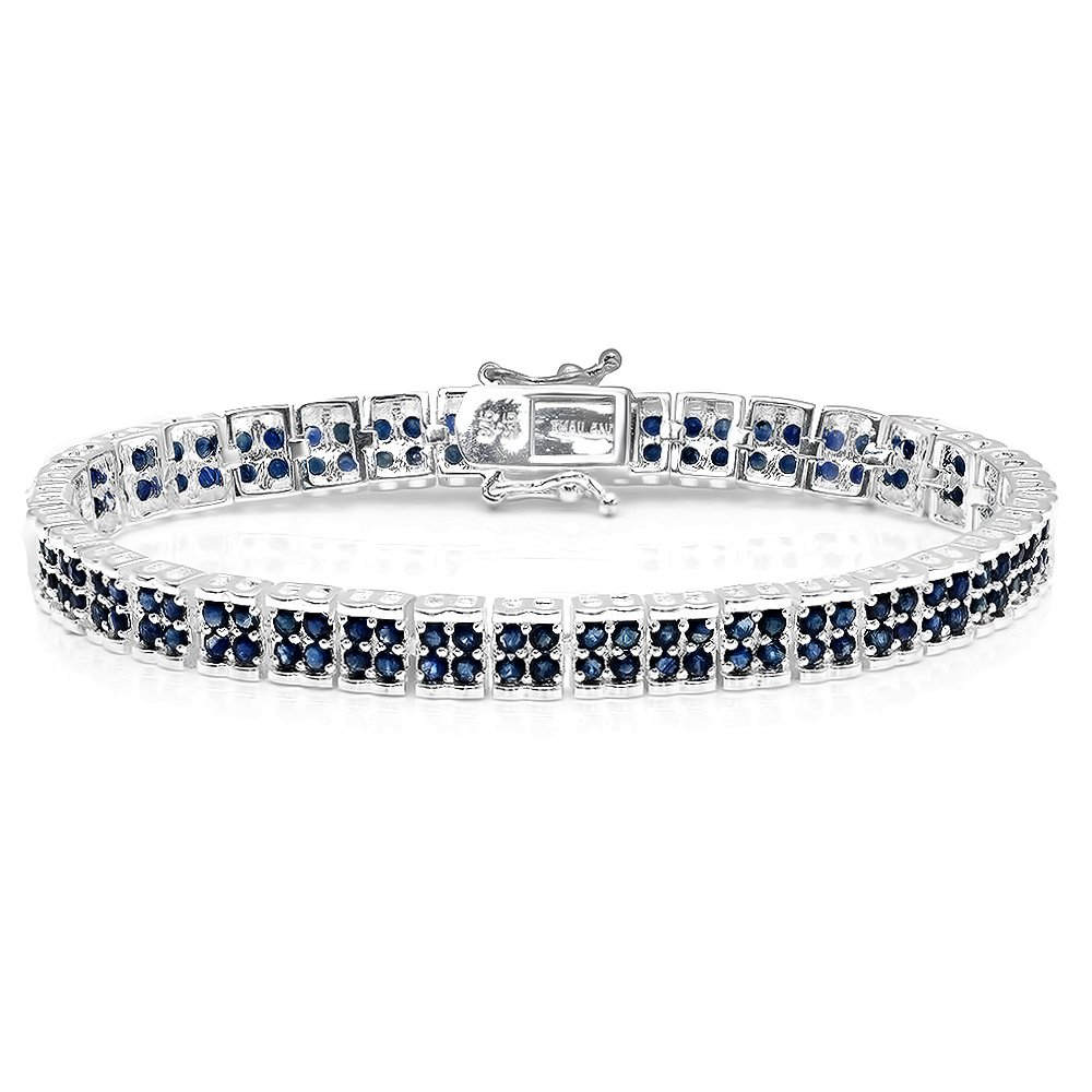 7.00 Carat (ctw) Sterling Silver Real Round Cut Genuine Blue Sapphire Ladies Tennis Bracelet