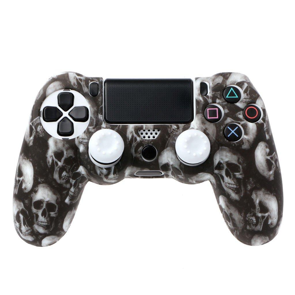Runrain Schä del Silikon Gamepad Hü lle + 2 Joystick Caps fü r PS4 Pro Slim Controller (4#)