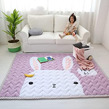 Non-Slip on Hardwood Floor and Add Much Padding for Kids Children Baby Game Mat Round Kids Room Rug Pink Non-Toxic