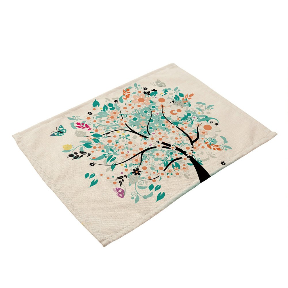 GlobalDeal Fashion Table Mat Pad Placemat Kitchen Life Tree Print Tableware Dining Tea Mat - 6#