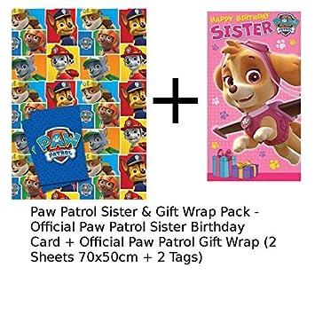 Paw Patrol Sister Birthday Card Gift Wrap