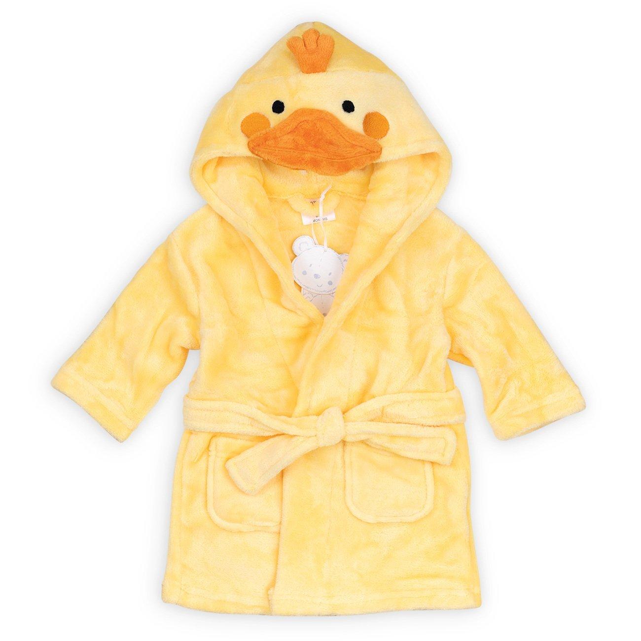 Babytown Baby Bademantel gelb | Motiv: Küken | Bademantel mit Kapuze für Neugeborene & Kleinkinder | Größe: 6-12 Monate (74/80)