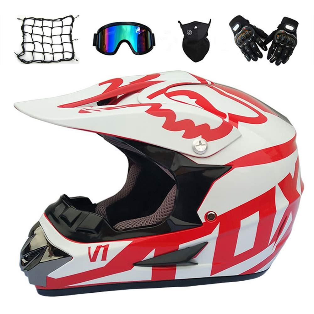 MRDEAR Enduro MTB Helmet Set 5 Pcs Red and White Motorcycle Motocross Helmet Full Face Motorbike Crash Helmets Dirt Bike Off Road Quad Bike Downhill ATV with Gloves Goggles Mask Helmet Net