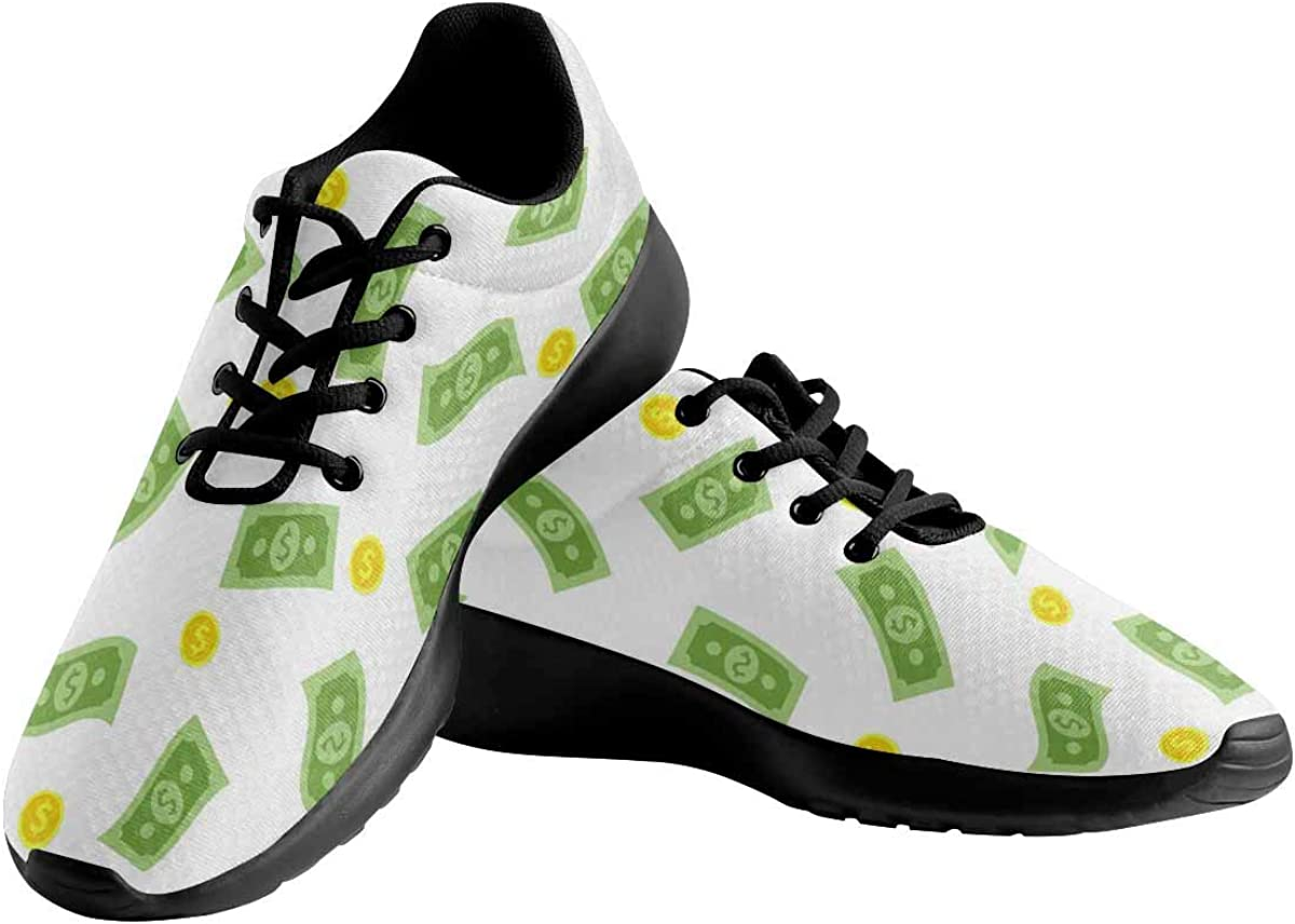 INTERESTPRINT Money Rain Pattern Womens Running Sport Shoes Breathable Lightweight Athletic Shoes