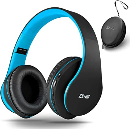 Amazon Com Wireless Over Ear Headset With Deep Bass Bluetooth And Wired Stereo Headphones Buit In Mic For Cell Phone Tv Pc Soft Earmuffs Light Weight For Prolonged Wearing By Zihnic Black Blue