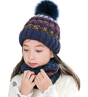 7dd4f9e11fc T WILKER 2Pcs Kids Winter Knitted Hats+Scarf Set Warm Fleece Lining Cap for  5