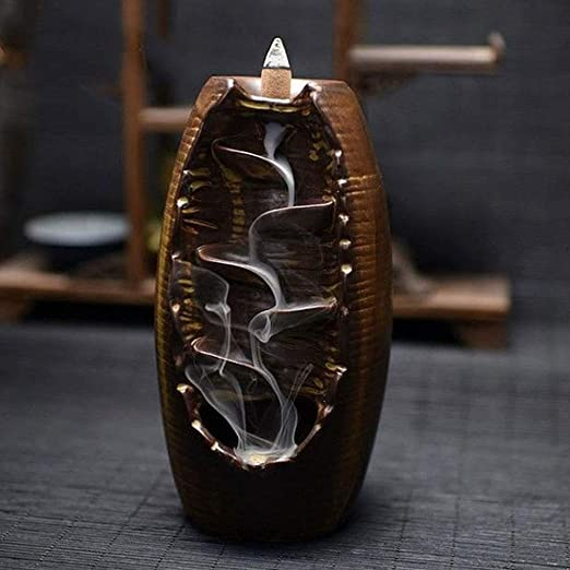 Aromatic Waterfall Incense Burner for Gift Home and Office and Handmade Ceramic Censer Smoke-20 Cone Incenses Free Brown