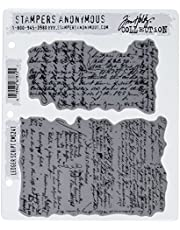 """Stampers Anonymous Tim Holtz Cling Rubber Stamp Set, 7"""" by 8.5"""", Ledger Script"""