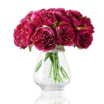 img buy Felice Arts Silk Peony Bouquet 5 Heads Artificial Fake Flower Bunch Bouquet Bridal Bouquet Wedding Living Room Table Home Garden Decoration (Rose red)