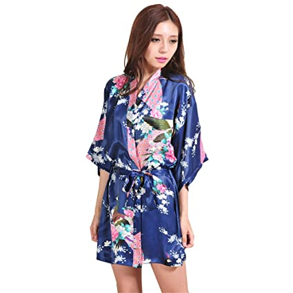Bata de Dormir Seda Kimono de satén de Las Mujeres Albornoz Corta Pijamas cómodos Albornoz Suelta