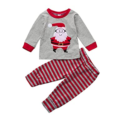 2a5901b552c38 Amazon.com: Vicbovo Clearance Sale Christmas Outfit Toddler Boy Girls  Pajamas Kids Cute Santa Print Shirt+Pants Clothes Set: Clothing