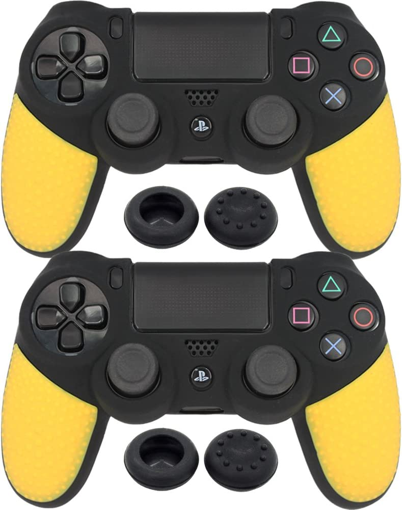 BlueLoong Soft Anti-Slip PS4 Silicone Case Cover Yellow 2 pack