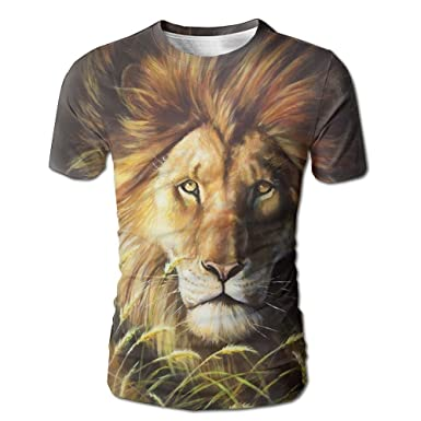 8dd7e6e7 Image Unavailable. Image not available for. Color: PengAnel African Lion  Oil Painting Cool Printing Men's T-Shirt Short-Sleeved ...