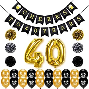 Konsait 40th Birthday Decoration, Cheers to 40 Birthday Banner, Number 40 Foil Balloons Large, Hello 40 Birthday Balloons, Black and Gold, Tissue Paper Pom Poms for 40 Years Old Party Favors Supplies