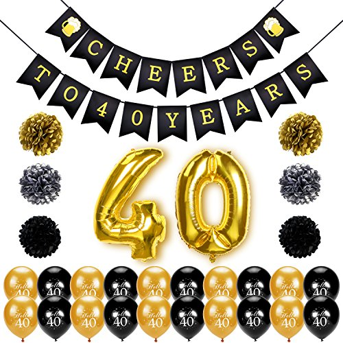 Konsait 40th Birthday Decoration, Cheers to 40 Birthday Banner, Number 40 Foil Balloons Large, Hello 40 Birthday Balloons, Black and Gold, Tissue Paper Pom Poms for 40 Years Old Party (40th Birthday Party Decor)