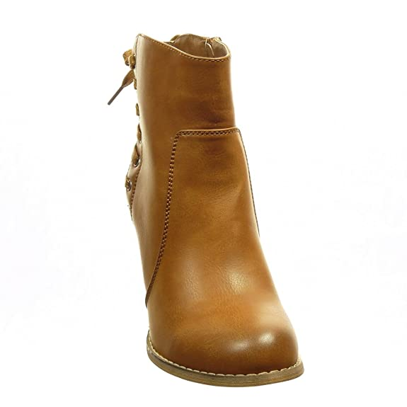 Mode Angkorly Talon Bottine Haut Low Boots Femme Chaussure Lacets S15q1APF