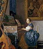 Imagekind Wall Art Print entitled A Young Lady Seated At A Virginal By Jan Vermeer by The Fine Art Masters | 24 x 27