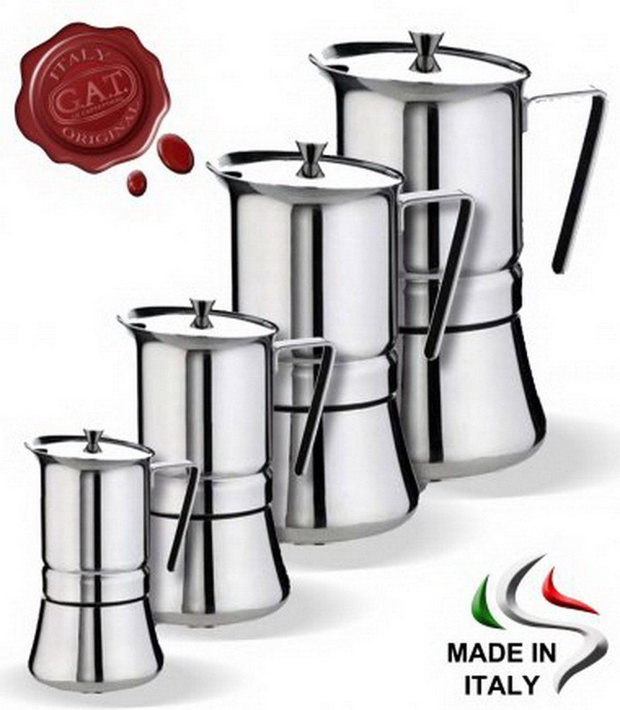 Acquisto GAT Pratika Stove Top Caffettiera Espresso In Acciaio Inox 18/10Made in Italy. 2 cups Prezzi offerta