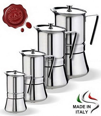 GAT Pratika Stove Top cafetera de espresso (acero inoxidable 18/10, fabricado en Italia. 2 cups