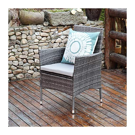 Aok Garden 7-Piece Outdoor Furniture Wicker Square Patio Dining Set Furniture with 6 Chairs - Grey - 【Beautiful & Practical】Strong steel frame with all-weather PE rattan wickers, durable for outdoor use. The environmental protection PE rattan, good toughness, could anti-aging, not perishable. Easy assembly required with included hardware 【Ergonomically Designed for Comfort】- This outdoor Rattan Dining Furniture set comes with sponge padded seat cushions and back cushions. Designed with comfort in mind, it has extra wide seat width and depth perfect for lounging 【Easy to Clean】Table with removable tempered glass adds a sophisticated touch and allows you to places drinks, meals and other accessories on top. And you can clean it easily with just a wipe when there is water strain on it. The separable seat cushion also enables you a quick wash - patio-furniture, dining-sets-patio-funiture, patio - 61KI0zlgE5L. SS570  -