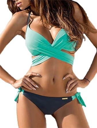 e3978031f2b Women's Bikini Candy Color Block Halter Cross Front Swimsuit Beachwear with  Bra