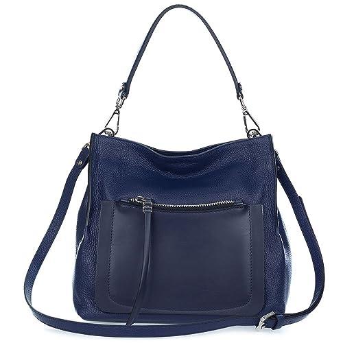 2e64fc0ea3c9 Gianni Chiarini Italian Made Navy Blue Pebbled Leather Slouchy Hobo Bag  with Pocket  Amazon.ca  Shoes   Handbags