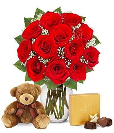 Flowers One Dozen Long Stem Red Roses W Godiva Chocolates Bear Free Vase Included