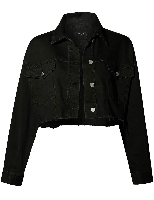 LE3NO Womens Oversized Boxy Frayed Long Sleeve Button up Cropped Denim Jean Jacket