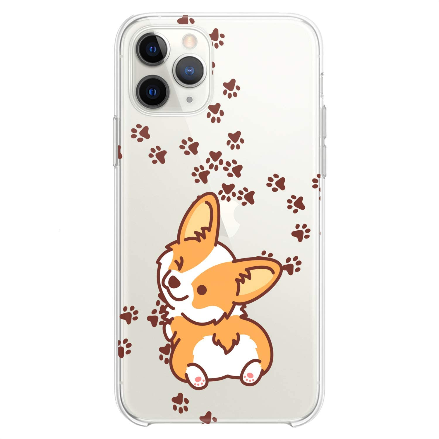 Cavka TPU Case Replacement for Apple iPhone 12 Mini 5G 11 Pro Xs Max X 8 Plus Xr 7 SE Design Corgi Kawaii Cute Funny Animals Teen Print Dog Puppy Wink Flexible Silicone Slim fit Clear Soft Cute Paws