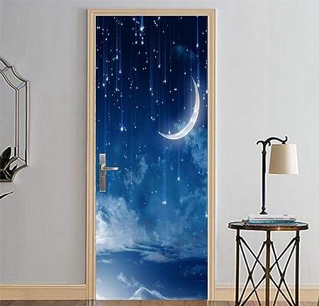 Etiqueta De La Puerta,3D Adhesivos Para Puertas Interiores Noche Lluvia De Meteoros Y La Media Luna Roja Autoadhesiva Murales Para Puertas Puertas Renovación De Arte De Pared Pegatinas Para Salón Do: Amazon.es: