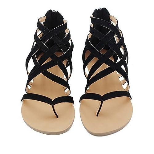 dbb45e9abb857f Rainlin Women s Gladiator Strappy Zip Closure Sandals Flip Flops Flats  Shoes Size 5 (Black)
