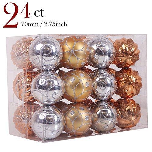 Valery Madelyn 24ct 70mm Trendy Rose Gold Shatterproof Christmas Ball Ornaments Decoration 7cm/2.75inch, 24 Pcs Metal Hooks - Trendy Christmas