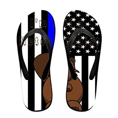 Unisex Non-slip Flip Flops Blue Thin Line Groundhog Cool Beach Slippers Sandal
