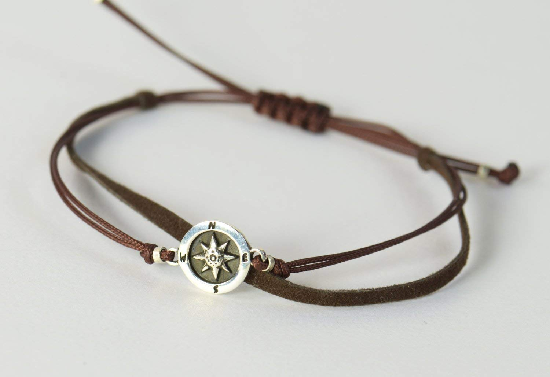 0d386b2bc7356 Sterling Silver Compass charm bracelet. Mens or women bracelet
