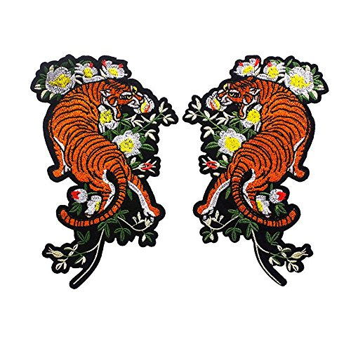 1pair Tiger Flower Iron on Transfers Stickers Embroidery Patches Clothes Decorative Applique Supplies TH521