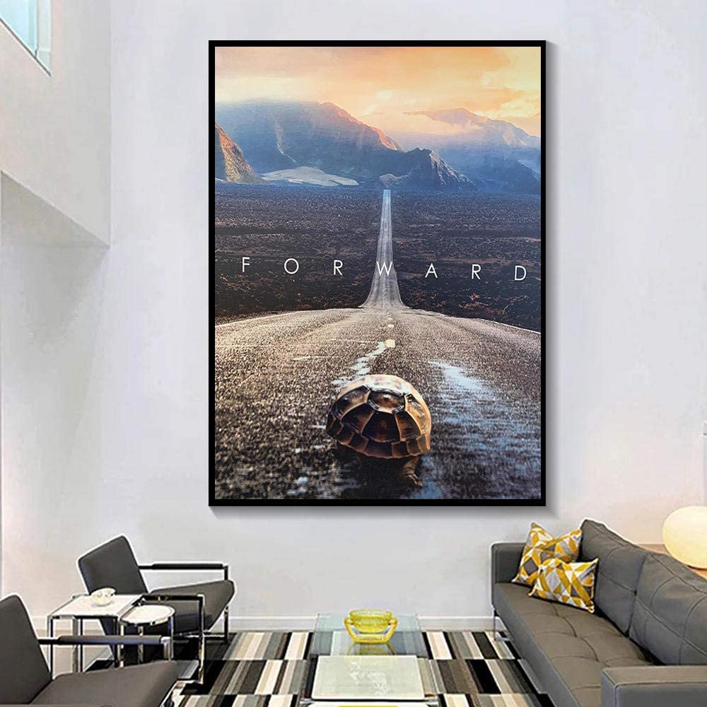 ZGZART Turtle Crawling on The Pavement Canvas Art Canvas Painting Animal Abstract Art Poster and Printing for Bedroom Living Room Decor - 60x80cm (No Frame)