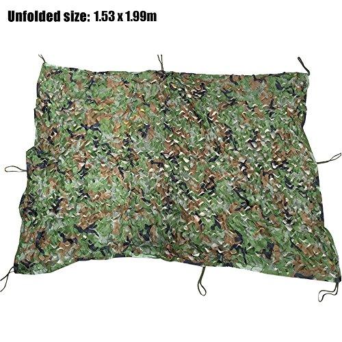 1.53m x 1.99m Woodland tactique militaire Housse de voiture de chasse Tente de camping Auvent de protection Pare-soleil Filet de filet de camouflage