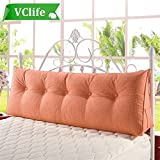 VClife Cotton Linen Filled Triangular Wedge Cushion Bed Backrest Positioning Support Pillow Reading Pillow Home Office Lumbar Pad with Removable Cover, 59(L)x7.8(W)x19.7(H)inch,Orange
