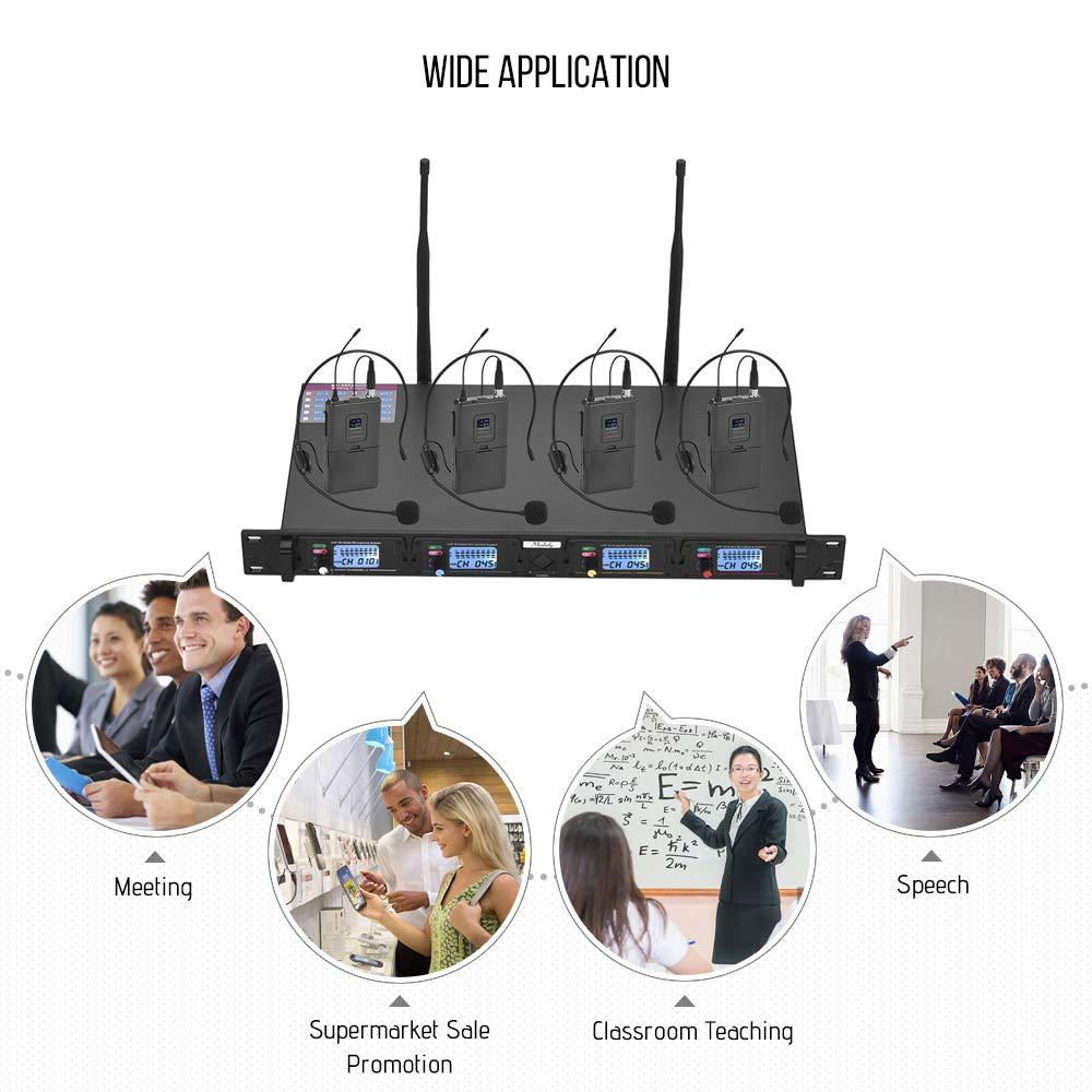 1 Ricevitore Montato su Rack per Incontro Discorso Pubblico Classe Nero Muslady Sistema Microfono Professionale 4 Canali UHF Senza Fili include 4 Microfoni Headset con Trasmettitori Bodypack