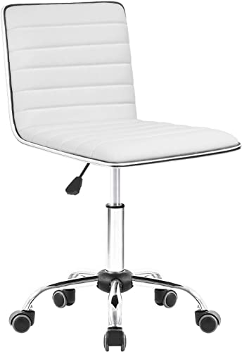 Homall Modern Adjustable Low Back Armless Ribbed Task Chair Office Chair Desk Chair, Vanity Chair Swivel Rolling Leather Computer Chairs Conference Chair White