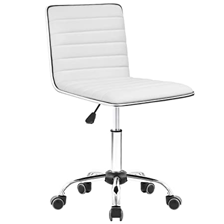 Homall Task Chair Desk Chair, Mid Back Armless Vanity Chair Swivel Office Rolling Leather Computer Chairs Ribbed Adjustable Conference Chair White