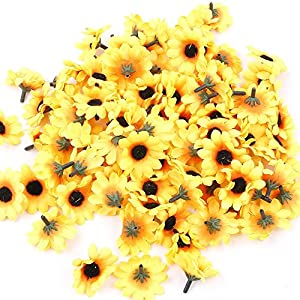 IETONE 100 Pieces Artificial Gerbera Daisy Flowers Heads for DIY Wreath Gift Box Scrapbooking Craft Wedding Party (Yellow Sunflower) 31