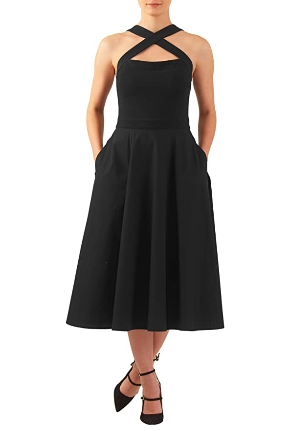 Plus Size Retro Dresses eShakti Womens Cross strap cotton knit dress $49.95 AT vintagedancer.com