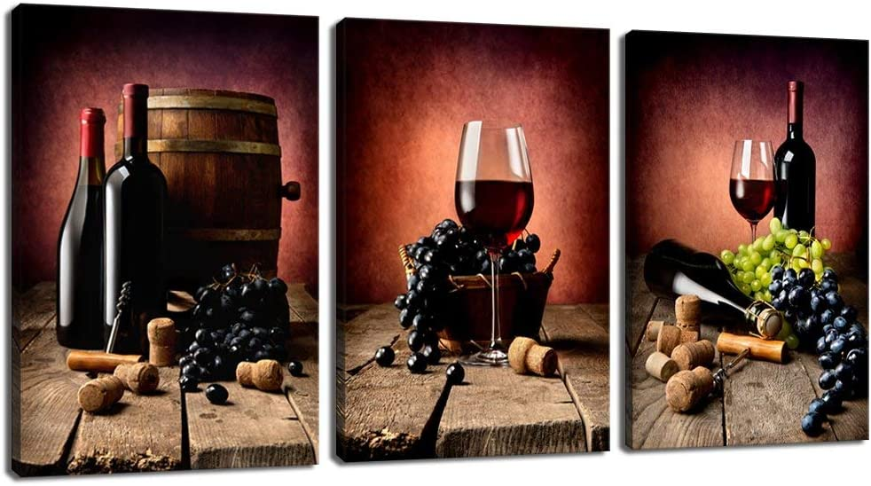 3pcs Modern Home Canvas Wall Decor Art Painting Picture Fruits Print Red Wine