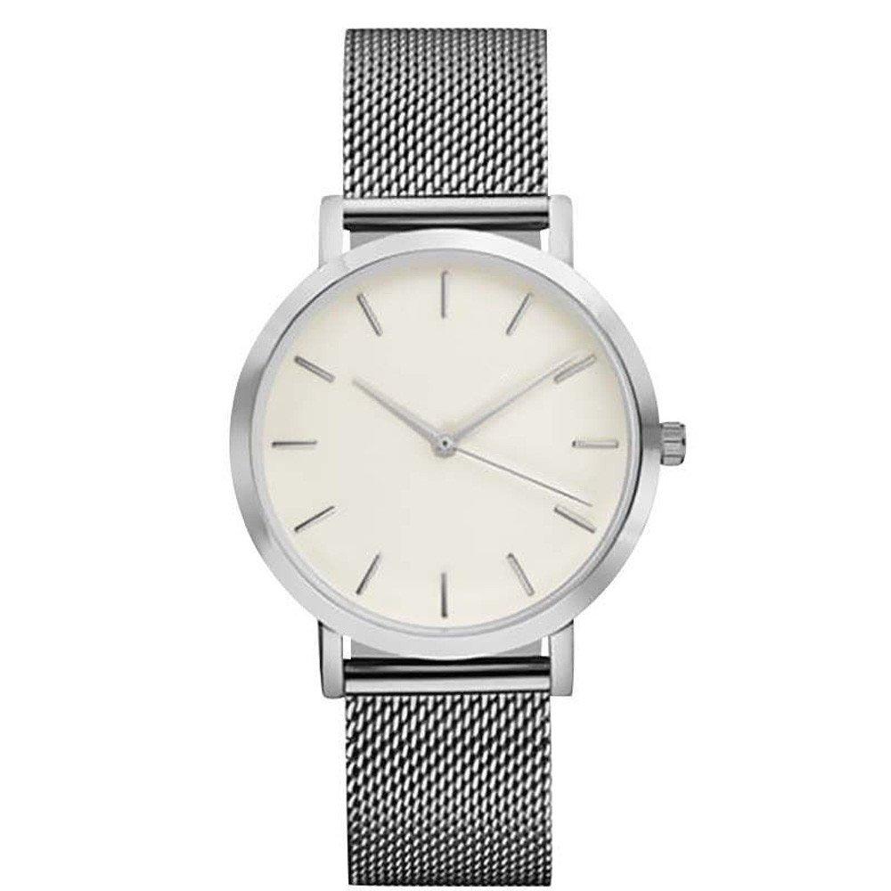 Watch for Girls Waterproof,Classic Women's Men's Wrist Watch Steel Strap Quartz Casual Watches,Surf, Skate & Street Wrist Watches,Silver,Women Watches