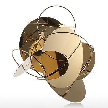 Amazon.com: Tooart - Escultura abstracta, espejo dorado ...