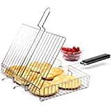 AccMart Nonstick Fish Grilling Basket Folding for Roast BBQ Barbecue with Wood Handle (Model 2)